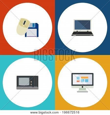 Flat Icon Laptop Set Of Notebook, Vintage Hardware, Computer Mouse And Other Vector Objects