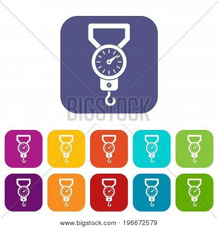 Spring scale icons set vector illustration in flat style in colors red, blue, green, and other