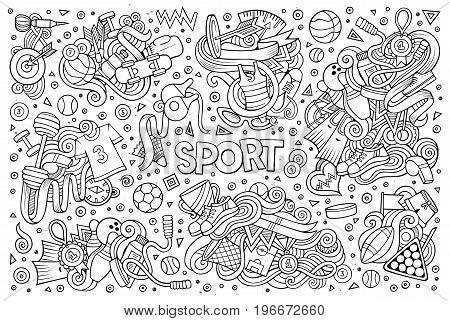 Line art vector hand drawn doodle cartoon set of Sport designs