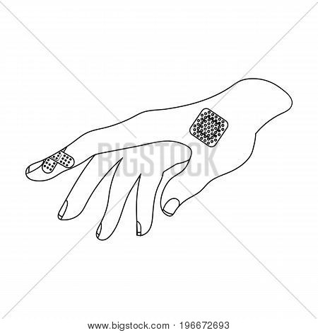 Bactericidal plaster on the arm. Medicine single icon in outline style vector symbol stock illustration .