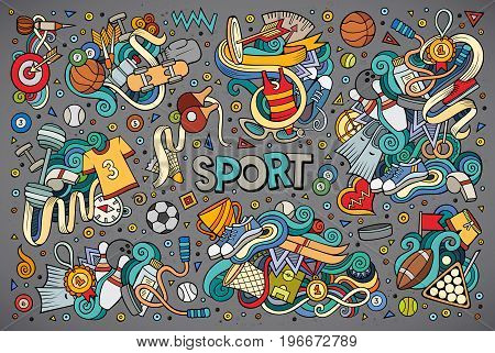 Colorful vector hand drawn doodle cartoon set of Sport designs
