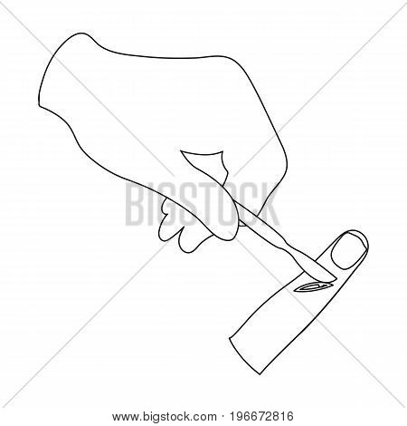 Cut the finger with a surgical scalpel. Surgery single icon in outline style vector symbol stock illustration .