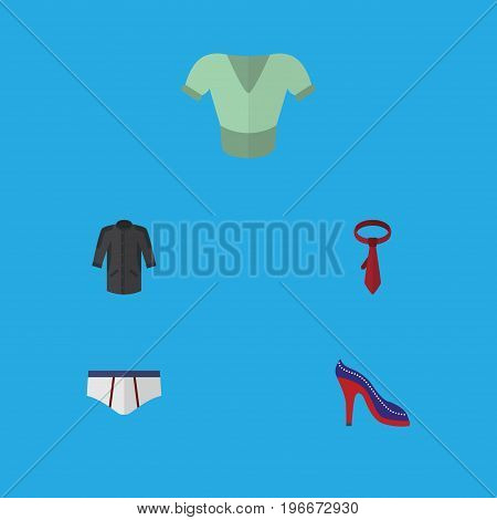 Flat Icon Clothes Set Of Uniform, Underclothes, Cravat And Other Vector Objects