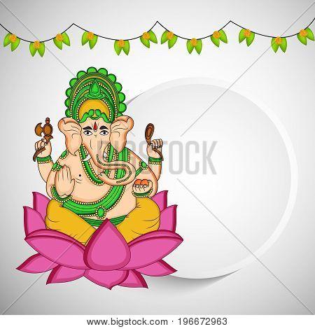 illustration of Hindu God Ganesh with decoration on the occasion of Hindu Festival Ganesh Chaturthi