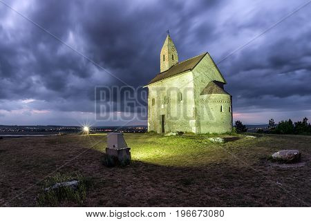 Drazovce church on the hill at night in Slovakia