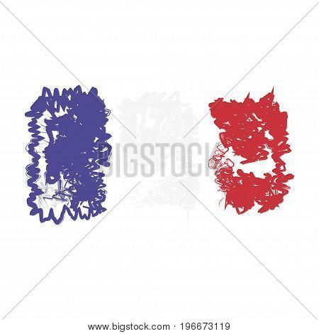 France Decorative Flag. Flat Vector Illustration Eps 10