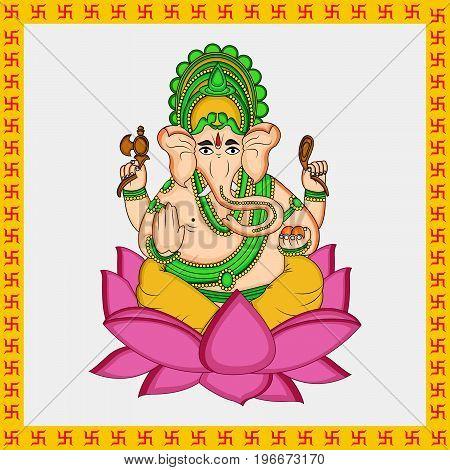 illustration of Hindu God Ganesh on the occasion of Hindu Festival Ganesh Chaturthi