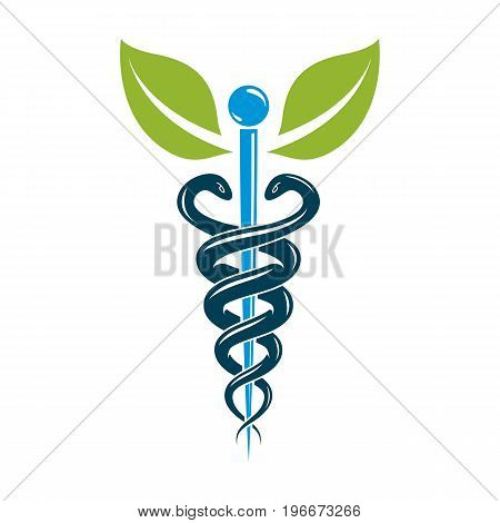 Caduceus medical symbol graphic vector emblem for use in healthcare. Phytotherapy metaphor.