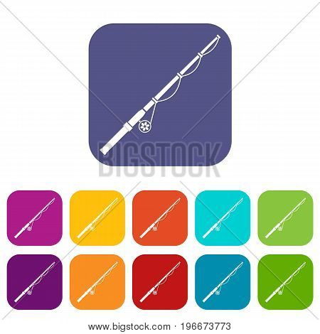 Rod and reel icons set vector illustration in flat style in colors red, blue, green, and other