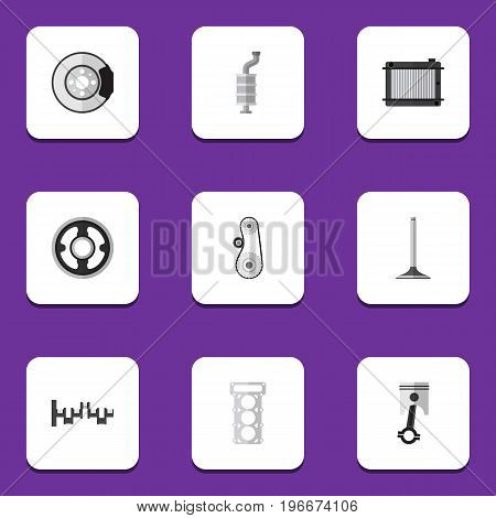 Flat Icon Auto Set Of Steels Shafts, Packing, Conrod And Other Vector Objects