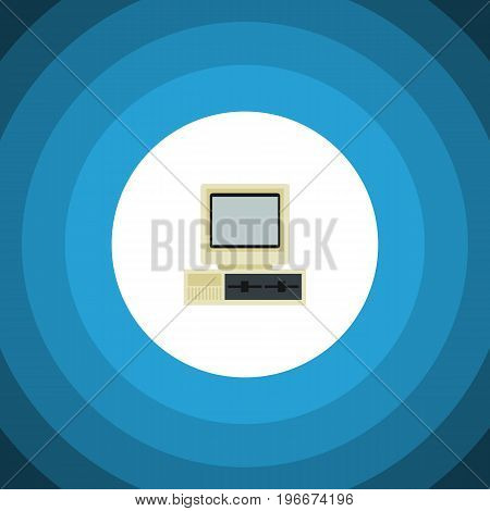 Computer Vector Element Can Be Used For Computer, PC, Retro Design Concept.  Isolated PC Flat Icon.