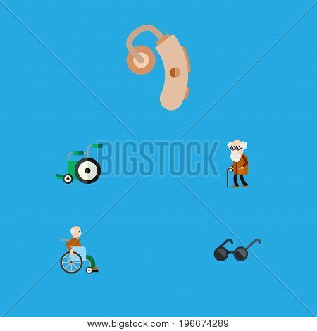 Flat Icon Cripple Set Of Handicapped Man, Spectacles, Audiology Vector Objects