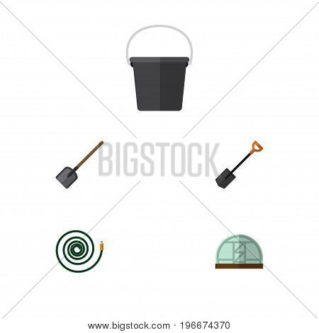 Flat Icon Farm Set Of Pail, Hosepipe, Spade And Other Vector Objects