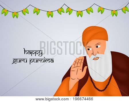 illustration of Guru Nanak with happy Guru Purnima text on the occasion of Guru Purnima festival in India