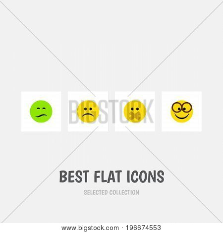 Flat Icon Face Set Of Sad, Frown, Hush And Other Vector Objects