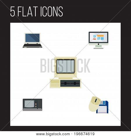 Flat Icon Laptop Set Of Computer Mouse, Vintage Hardware, Notebook And Other Vector Objects