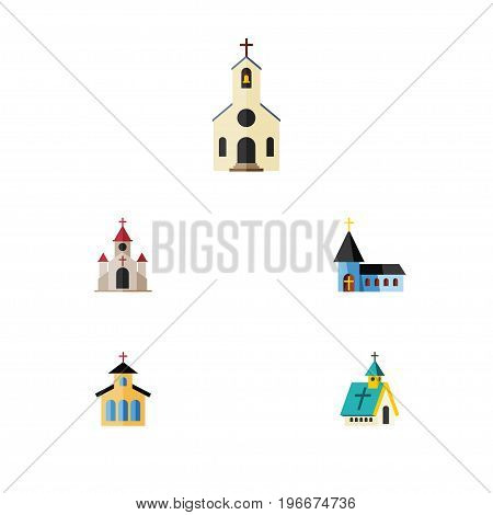 Flat Icon Building Set Of Catholic, Architecture, Traditional And Other Vector Objects