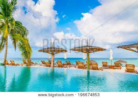 Swimming pool bar in tropical Maldives island