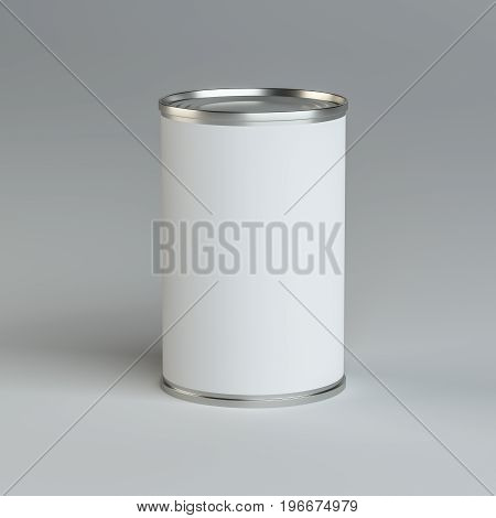 Close-up white tin can. 3d illustration. Mockup template
