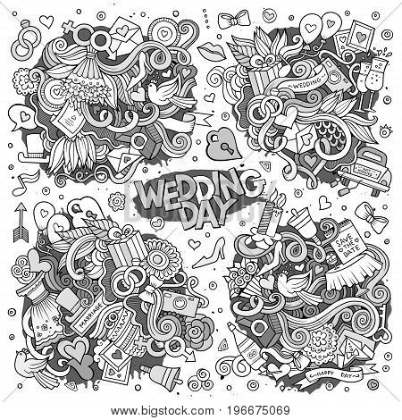 Sketchy vector hand drawn Doodle cartoon set of objects and symbols on the wedding theme