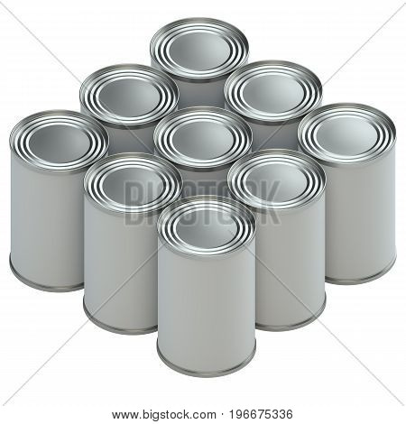 Group of metal tin cans with white paper labels on white background. 3d illustration. Mockup template ready for your design