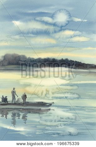 Evening sun with fisherman silhouettes watercolor landscape