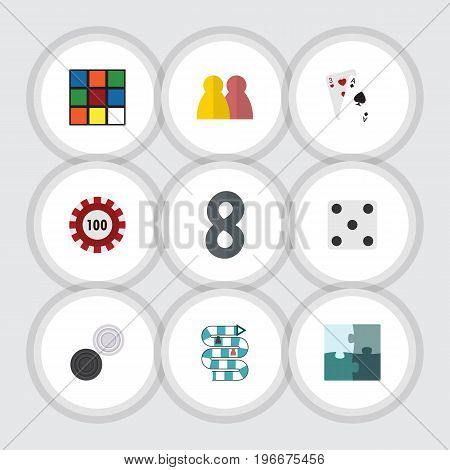 Flat Icon Entertainment Set Of Chequer, Poker, Ace And Other Vector Objects