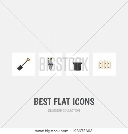 Flat Icon Dacha Set Of Spade, Pail, Pump And Other Vector Objects