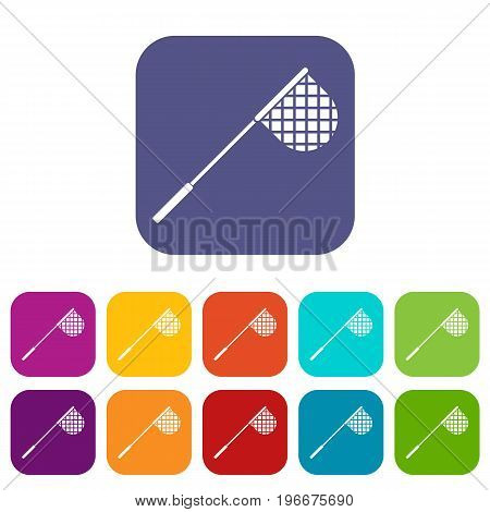 Fishing net icons set vector illustration in flat style in colors red, blue, green, and other