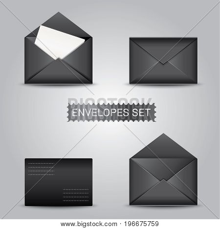 Realistic black envelopes envelope blank envelope mock up envelope template