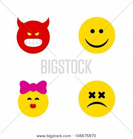 Flat Icon Face Set Of Cross-Eyed Face, Joy, Pouting And Other Vector Objects