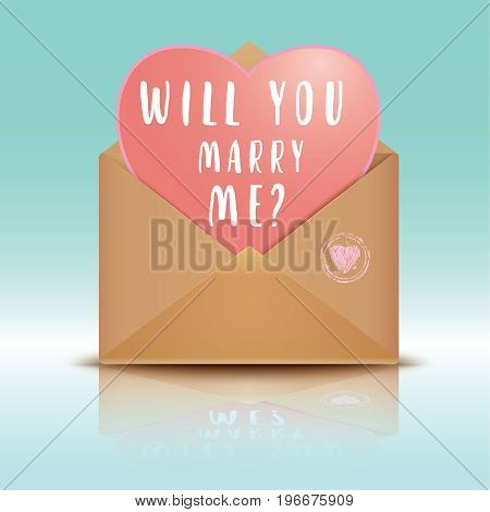 Realistic Kraft envelope with heart isolated on a background. Open envelope with heart. Will you marry me