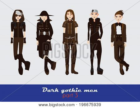 Vector set with dark gothic young men. Guys standing and watching at spectator. Dark clothes in goth style isolated on background