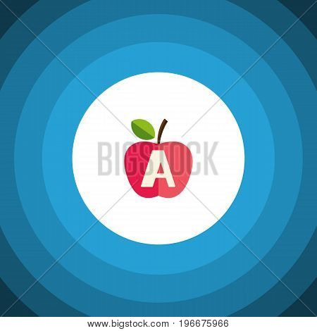 Vitamin A Vector Element Can Be Used For Vitamin, A, App, E Design Concept.  Isolated Apple Flat Icon.