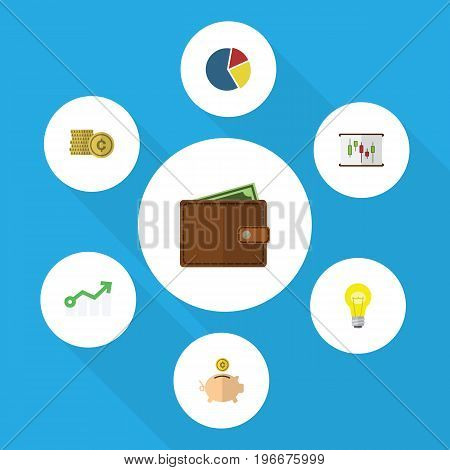 Flat Icon Gain Set Of Graph, Billfold, Growth And Other Vector Objects
