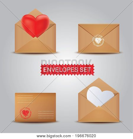 Realistic Kraft envelope with heart isolated on a background