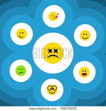 Flat Icon Face Set Of Cross-Eyed Face, Wonder, Winking And Other Vector Objects