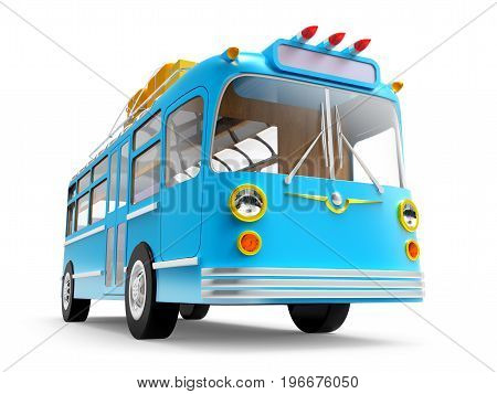 blue retro bus with roof rack luggage isolated on white. 3d illustration
