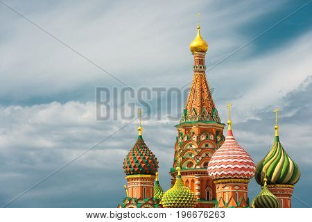 The Cathedral of Vasily the Blessed or Saint Basil`s Cathedral in the Red Square in Moscow, Russia. St. Basil's Cathedral is a famous monument of Russian culture of the 16th century.