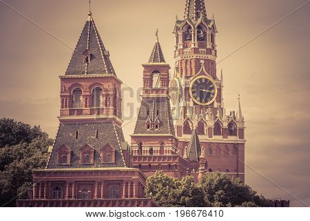 Towers of the Moscow Kremlin in the Red Square, Russia. The Moscow Kremlin is the residence of the Russian president and the main tourist attraction of Moscow.