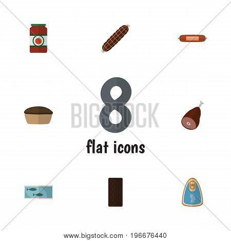 Flat Icon Food Set Of Tart, Meat, Smoked Sausage And Other Vector Objects