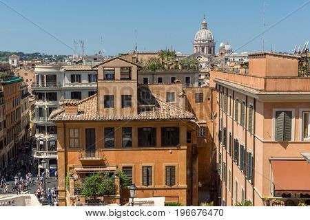 ROME, ITALY - JUNE 22, 2017: Amazing view of Spanish Steps and Piazza di Spagna in city of Rome, Italy