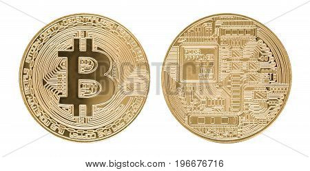 Bitcoin gold coin on white background. Virtual cryptocurrency concept.