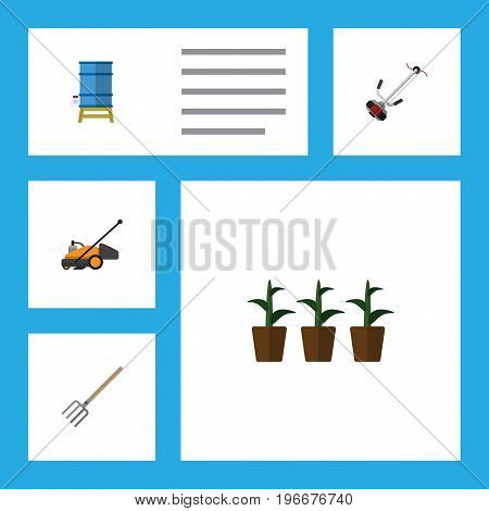 Flat Icon Farm Set Of Container, Hay Fork, Grass-Cutter And Other Vector Objects