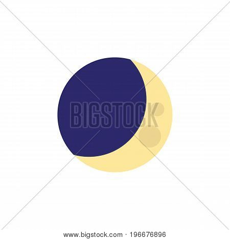Half Moon Vector Element Can Be Used For Crescent, Moon, Midnight Design Concept.  Isolated Crescent Flat Icon.