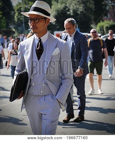 FLORENCE- 13 June 2017 Man on the street during the Pitti
