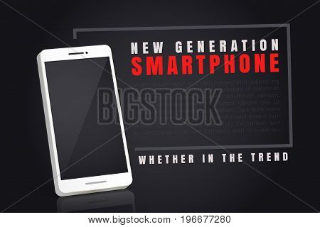Vector image of a smartphone in a frame for your design and text.