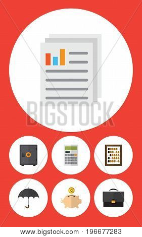 Flat Icon Gain Set Of Portfolio, Counter, Money Box And Other Vector Objects