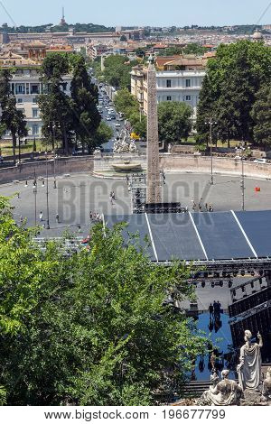 ROME, ITALY - JUNE 22, 2017: Amazing Panorama to Piazza del Popolo in city of Rome, Italy