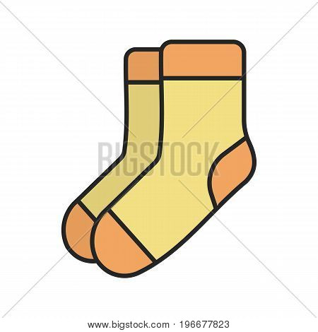 Warm socks color icon. Socks pair. Isolated vector illustration